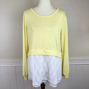 NEW ANTHROPOLOGIE Light Sweater & Lace Size Large